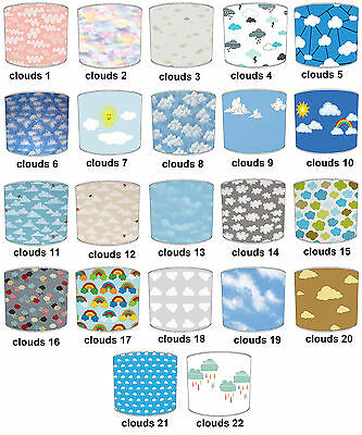 Clouds Designs Lampshades Ideal To Match Children`s Clouds Curtains & Bedding.