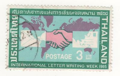 1965 THAILAND - 3 baht INTERNATIONAL LETTER WRITING WEEK - HANDSHAKE MAP Used