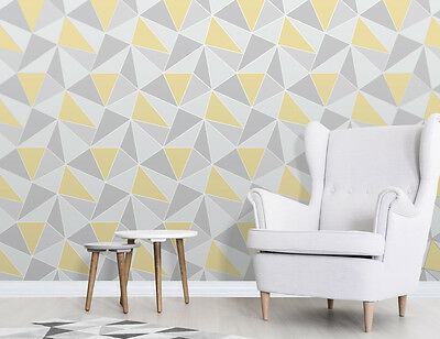 Apex Yellow Grey Shapes Luxury Heavyweight Feature Wallpaper Fine Decor Fd41991