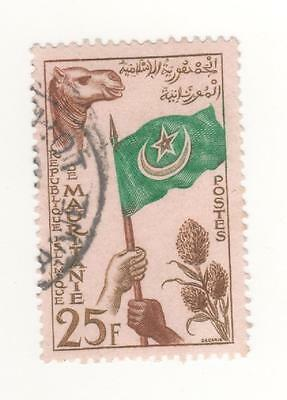 1960 MAURITANIA Inauguration Flag 25f  bistre, grn & brn ON ROSE SG#130 G/F Used