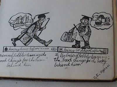 Antique WW1 ~ 1925  Sketch Book Scrap Book Original Drawing Painting Autograph