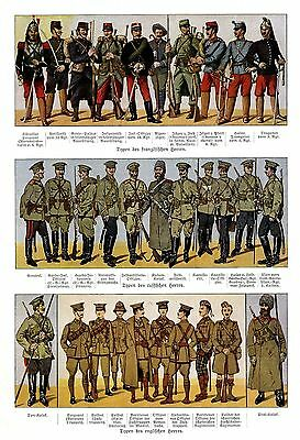 1914 * Uniform types of French - Russian - British troops * WW I