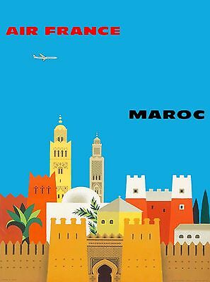 Maroc  Morocco by Clipper Airplane Vintage Airline Travel Advertisement Poster