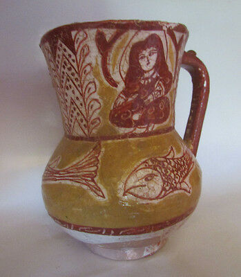 Rare antique Islamic terracotta jug glazed painted and decorated