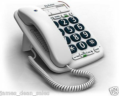Phone Emergency Elder Deaf Older People Hard Hearing Home Corded BT Big Button