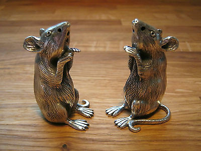 English Hallmarked Sterling Silver Novelty Rat Mouse Cruets Salt Pepper Shakers