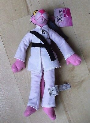 """Pink Panther 11"""" Plush Wearing A White Karate Suit And Black Belt - New"""