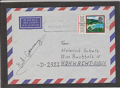 "Single franked Airmail - Maracas Bay 1979, with Slogan ""Start Think metric now"""
