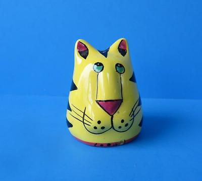 Tiger Cat Pepper Shaker 1990's  Brilliant Colors, Handpainted, Adorable Design