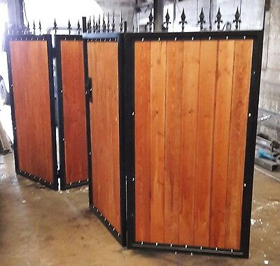 BRAND NEW straight top bi folding iron and Timber Gates