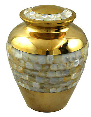 Mother of Pearl Brass Elite Large Urn