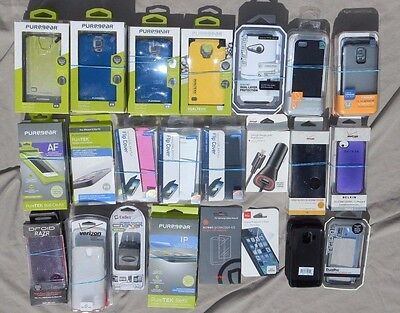 45+ Lot new Phone cases screen protectors Puregear Spigen Galaxy S5 Iphone 5 6