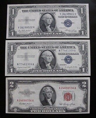 MIX LOT OF 3 x $1 & $2 US NOTES & SILVER CERTIFICATES XF / AU #A33