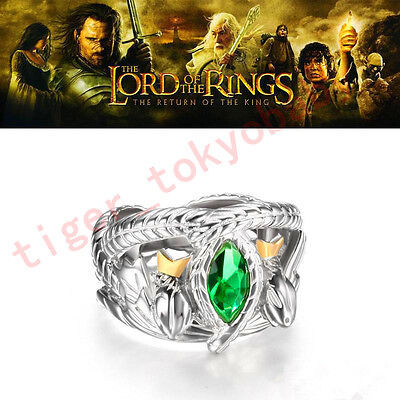 925 Sterling Silver Aragorn's Ring Barahir Lord Of The Rings Jewelry Size 7#~12#
