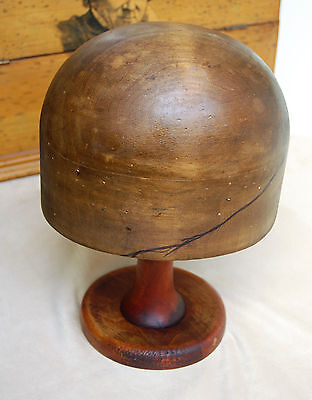 An attractive Victorian , Edwardian or vintage pine wooden hat block, hat stand