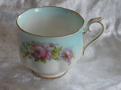 Royal Albert Vintage Fine Bone China Cup Only Pale Blue & White Floral With Gold