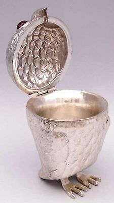Antique Rare Solid Silver Large Owl Mustard Pot Box