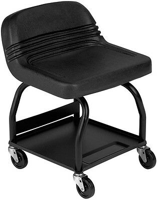 Heavy-Duty Shop/Garage Rolling Padded Mechanics Creeper Seat Stool w/ Tool Tray