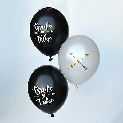 """10 x BRIDE TRIBE HEN PARTY BALLOON PACK - 5 Black / 5 White & Gold Balloons 12"""""""