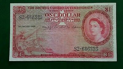 British Caribbean Territories One $1 Dollar Banknote 1956 Vf+