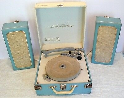 Vtg. 1950s WESTINGHOUSE~Stereo Fidelity Phonograph~Portable RECORD PLAYER-WORKS!