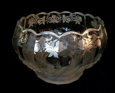 Heavy Vintage Glass Pedestal Bowl w/ Silver Daffodil Overlay & Frosted Fruit