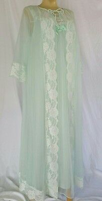 Vintage Sears Peignoir Robe Nightgown  Mint Green Double Chiffon Nylon/Lace Sz L