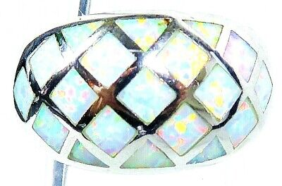 "Silver 925 SF Size 9 Ring White Lab Fire Opal  CRISSCROSS 1/2"" Wide"