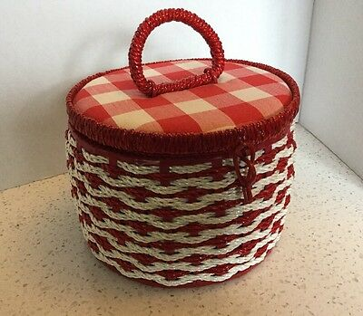 Vintage Round Red Gingham Sewing Basket Notions Woven Wicker Style Japan