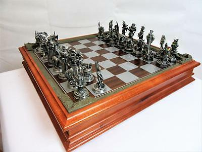 "Vintage  Danbury Mint Pewter Chess Set""fantasy Of The Crystal"" 1993"