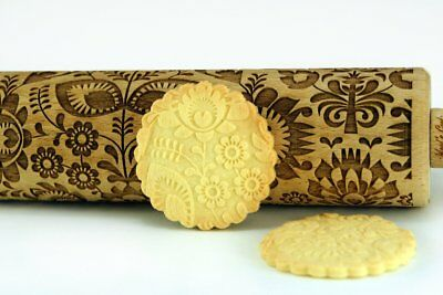 Engraved FOLK rolling pin wooden laser cut flower floral design rolling pin