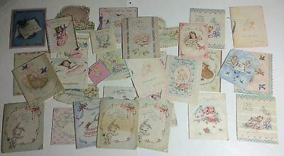 Lot 32 Vintage Welcome New Baby Cards 1940s used