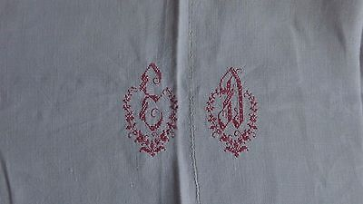 Antique French Linen Sheet Hand Embroidery Red Initials L 300 cm x W 180 cm