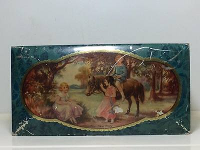 """Peek Freans Chocolate Table Biscuits Litho Tin Vintage """"The New Pony"""" England"""