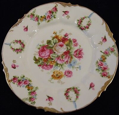 Antique Erdmann Schlegelmilch ERS1 Roses with Garland & Wreath Plate