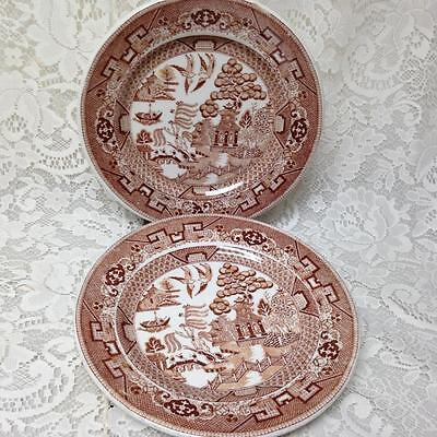 Vintage, Rare, Buffalo Pottery, Brown-Blue Willow, Set of 2, 9inch Dinner Plates