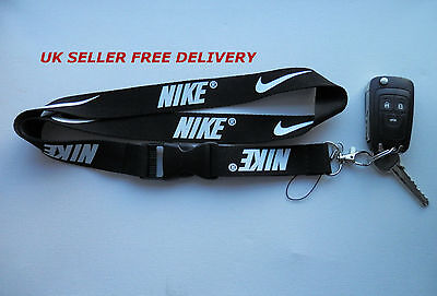 Men Nike Lanyard Key Strap Neck  Women Necklace Id Holder Black White Logo