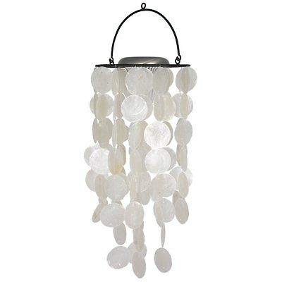 Nautical White Capiz Wind Chime Bell with Solar Light Home Patio Outdoor Decor