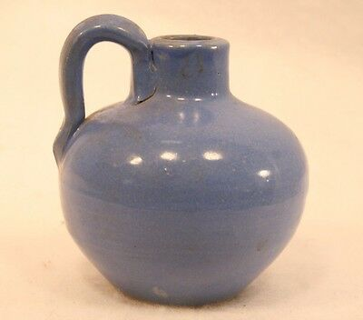 Uhl Pottery Jug 509 in Blue #2 Small Vintage Stoneware Ewer Pitcher Round