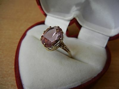 Vintage USSR RING SILVER GOLD PLATED 875 Star Size 9 Violet STONE 2.4 g