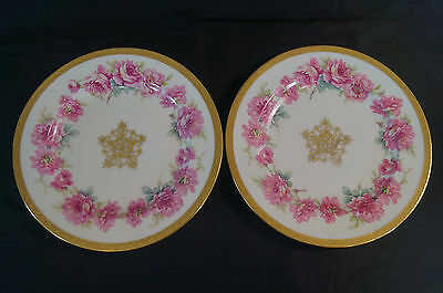 Pair of Theodore Haviland Limoges Pink Rose & Gold Encrusted Plates C. 1903 - 25