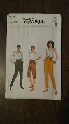 Vintage Very Easy Vogue Pants / Trousers  Sewing Pattern Size 8-12 #8338 Uncut