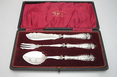Antique Art Nouveau Fork Knife Spoon Silver Handle Set Boxed Christening  1906 P