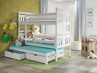 3 Triple Sleeper Bunk Bed White Wooden Solid Frame Mattresses And Storage 3Ft