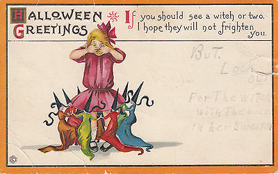 Vintage Era Halloween Greetings Postcard Witch Witches Series 63 D