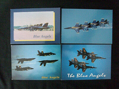 Vintage Postcard Lot of 4 Blue Angels Jets F/A-18A Hornet Air Shows U.S. Navy US