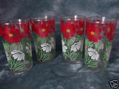 "4 Libbey? Red & White Poppy Design Juice Water Glasses Tumblers 4-3/4""  9 Oz Euc"