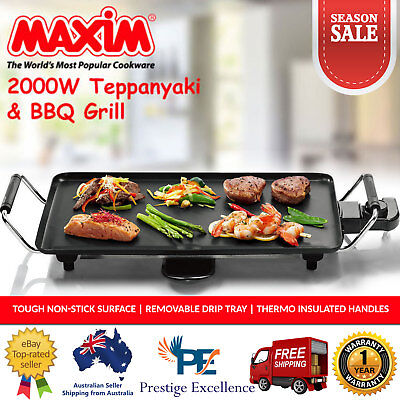 Electric Teppanyaki BBQ Grill Griddle Barbecue Kitchen Hot Plate Non Stick 2000W