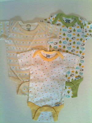 3 Pc Gerber Infant Baby Onsies Bodysuits Yellow Green Size 0-3 Months