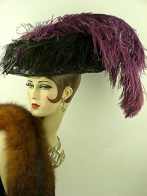 VINTAGE HAT 1890s FRENCH ORIGINAL TULLE JET BEADING, JET BIRD & OSTRICH FEATHER